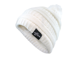 Fear0 Plush Insulated Extreme Cold Gear Womens White Knit Pom Beanie Hat-Fear0 Footwear/Apparel-Mercantile Americana