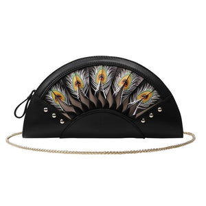 Feather Black Crossbody Clutch-Bellorita-Mercantile Americana