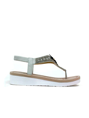 Flower White Sole Sandal Off White-Beta Shoes Ltd.-Mercantile Americana