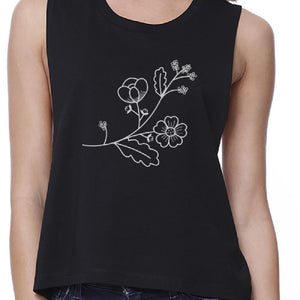 Flower Womens Black Sleeveless Round Neck Crop Tank Top For Friends-TSF Design-Mercantile Americana
