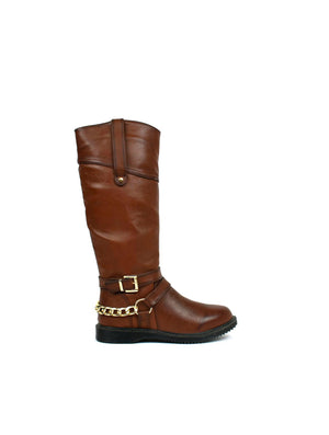 Gold Chain Riding Boot Brown-Beta Shoes Ltd.-Mercantile Americana