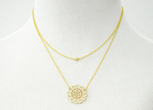 Gold double strand lace necklace-BellaJoo Jewelry-Mercantile Americana