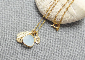 Gold personalized dangle mint drop necklace-BellaJoo Jewelry-Mercantile Americana