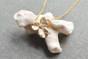 Gold zirconia flower necklaceecklace-BellaJoo Jewelry-Mercantile Americana