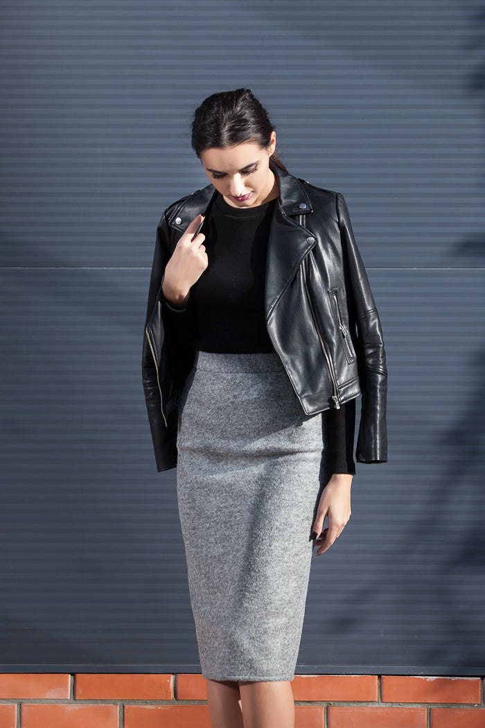 Grey wool pencil skirt