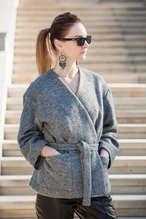 GREY WOOL WRAP BELTED JACKET-2KStyle-Mercantile Americana