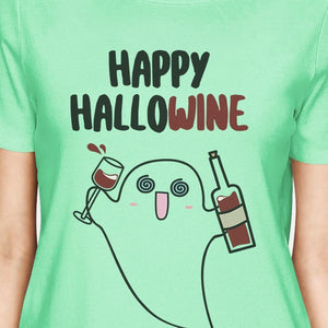Happy Hallowine Ghost Wine Womens Mint Shirt-TSF Design-Mercantile Americana