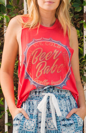 Ice Cold Beer Babe Muscle Tank-Wanderlux-Mercantile Americana