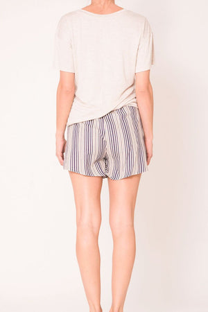 Joan High Waisted Mini Shorts Belted Navy Stripes-Wanderlux-Mercantile Americana