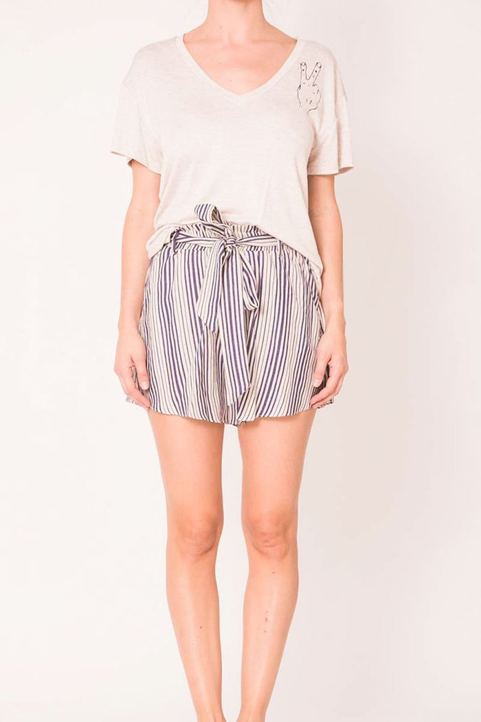 Joan High Waisted Mini Shorts Belted Navy Stripes