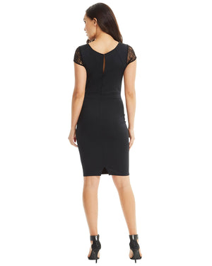 Lace Cap Sleeves Dress - Black-SKIVA-Mercantile Americana