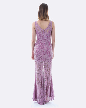 Lace Evening Dress w/ Split (Lavender)-SKIVA-Mercantile Americana