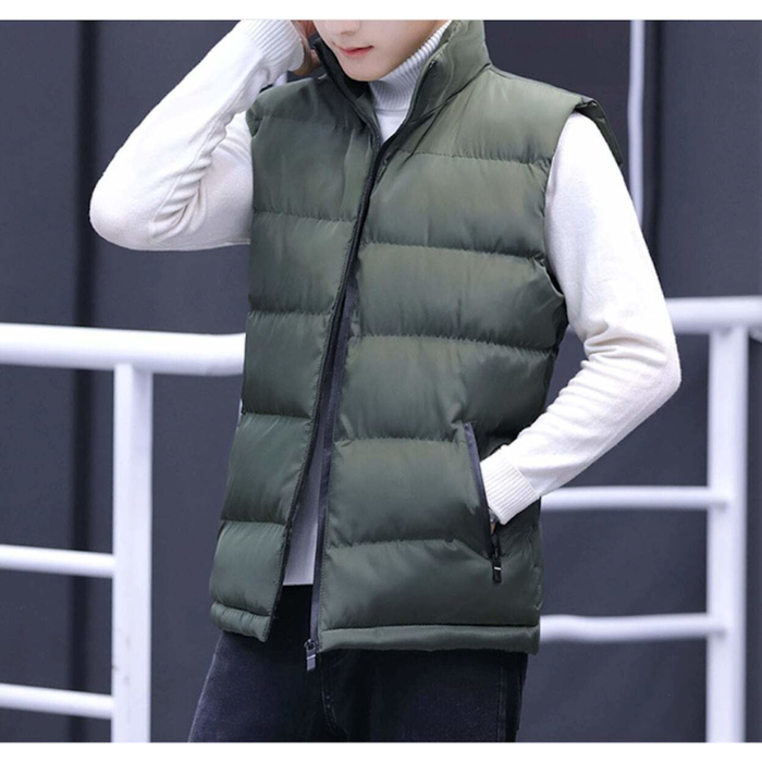 Men's Army Green Casual Puffer Vest
