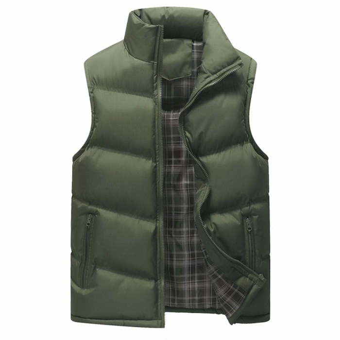Men's Army Green Zip Up Puffer Winter Vest
