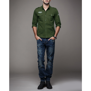 Men's Army Style Long Sleeve Shirt-ProductPro-Mercantile Americana