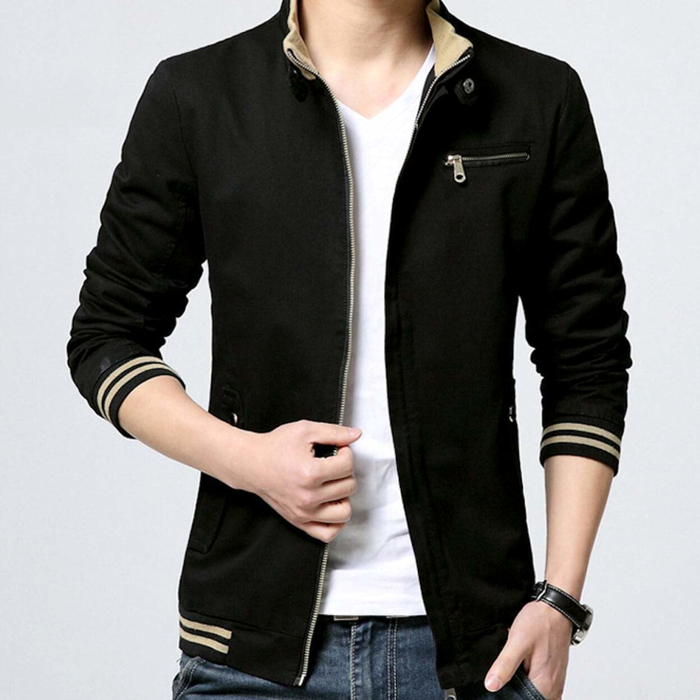 Men's Black Stand Collar Zipper Jacket
