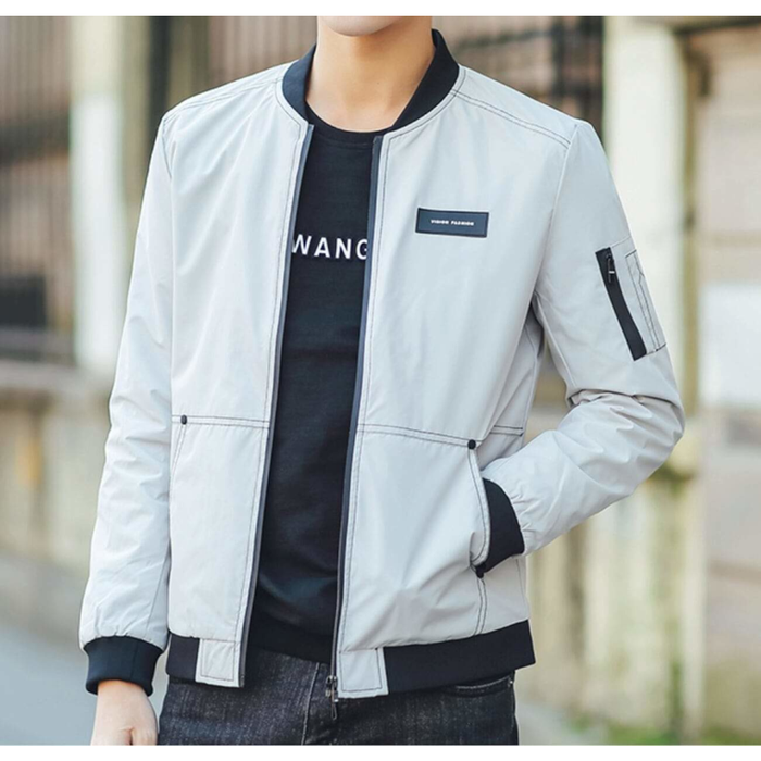 Men's Bomber Jacket with Stitching Designs