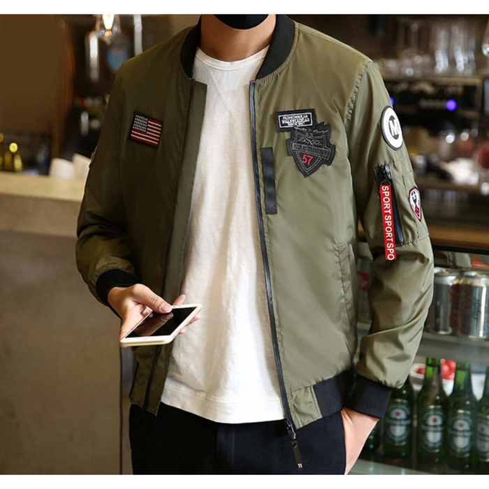 Men's Bomber Jacket with Zipper Tag
