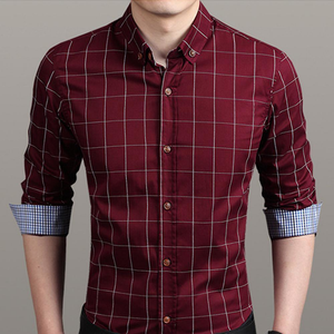 Men's Checkered Button Down Shirt In Red-ProductPro-Mercantile Americana