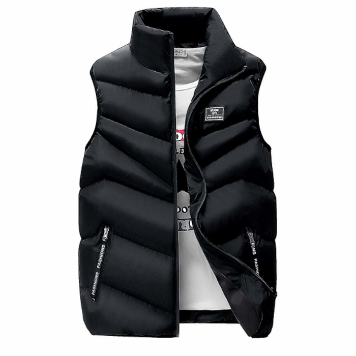 Men's Classic Black High Collar Puffer Vest