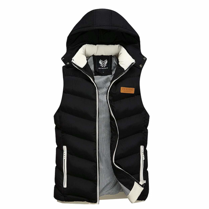 Men's Classic Black Ultra Warm Winter Hooded Puffy Vest