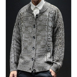 Men's Crew Neck Button Front Cardigan in Gray-ProductPro-Mercantile Americana