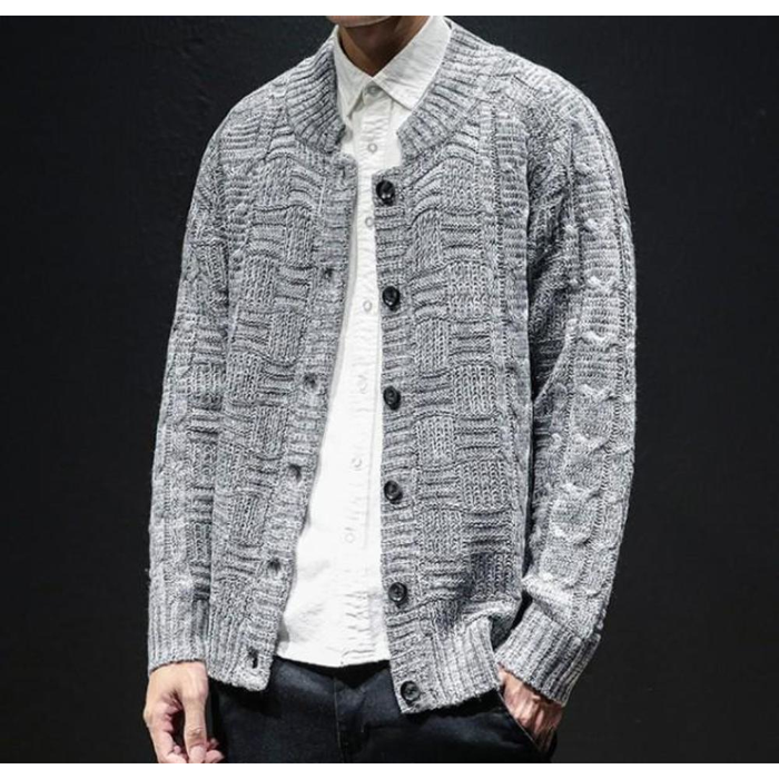 Men's Crew Neck Button Front Cardigan in Gray