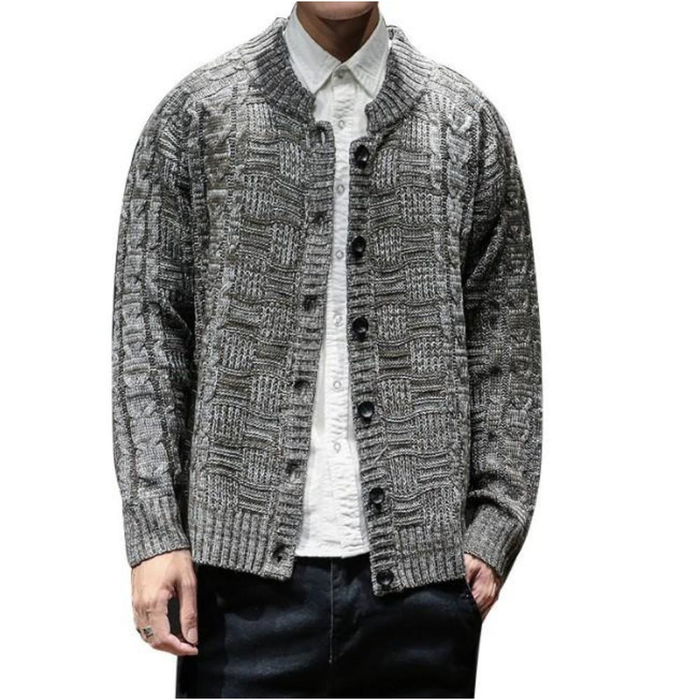 Men's Crew Neck Button Front Cardigan in Khaki