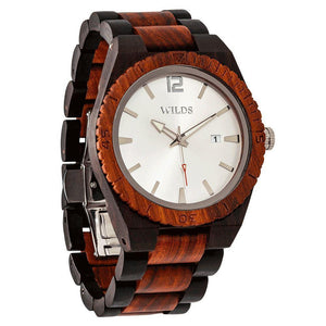 Men's Custom Engrave Ebony & Rose Wooden Watch-Wilds Wood-Mercantile Americana
