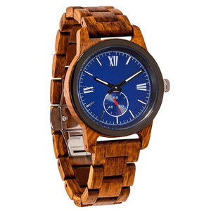 Men's Handcrafted Engraving Ambila Wood Watch-Wilds Wood-Mercantile Americana