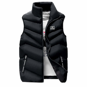 Men's High Collar Puffer Vest in Navy Blue-ProductPro-Mercantile Americana