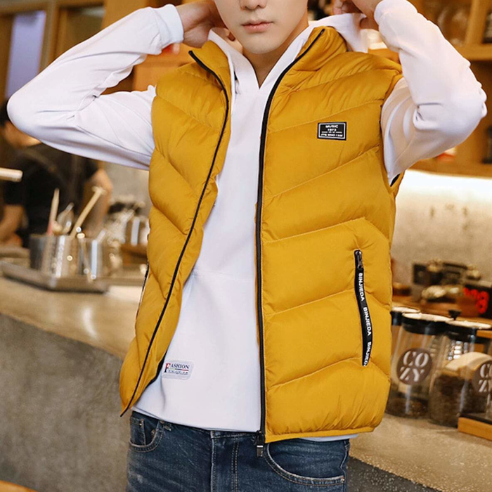 Men's High Collar Puffer Vest in Yellow