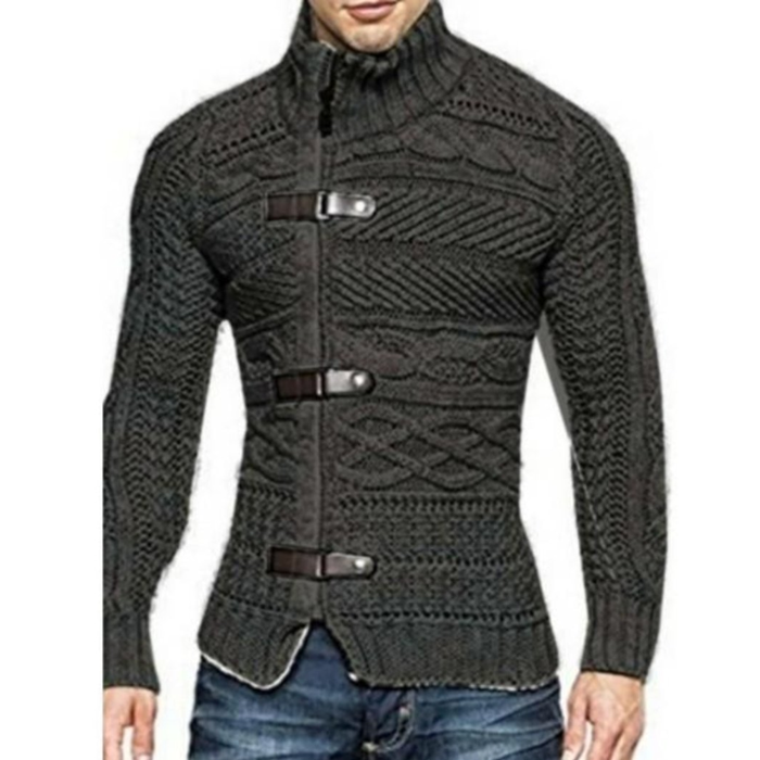 Men's High Collar Slim Fit Cardigan in Dark Gray