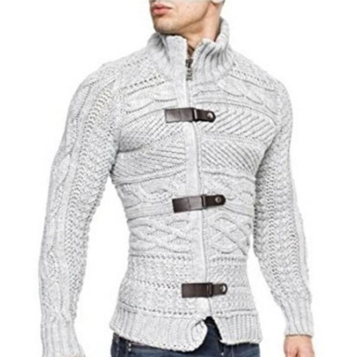 Men's High Collar Slim Fit Cardigan