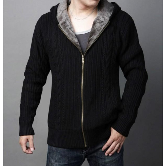 Men's Hooded Cardigan with Inner Layered in Black
