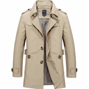 Men's Khaki Mid Length Trench Coat-ProductPro-Mercantile Americana