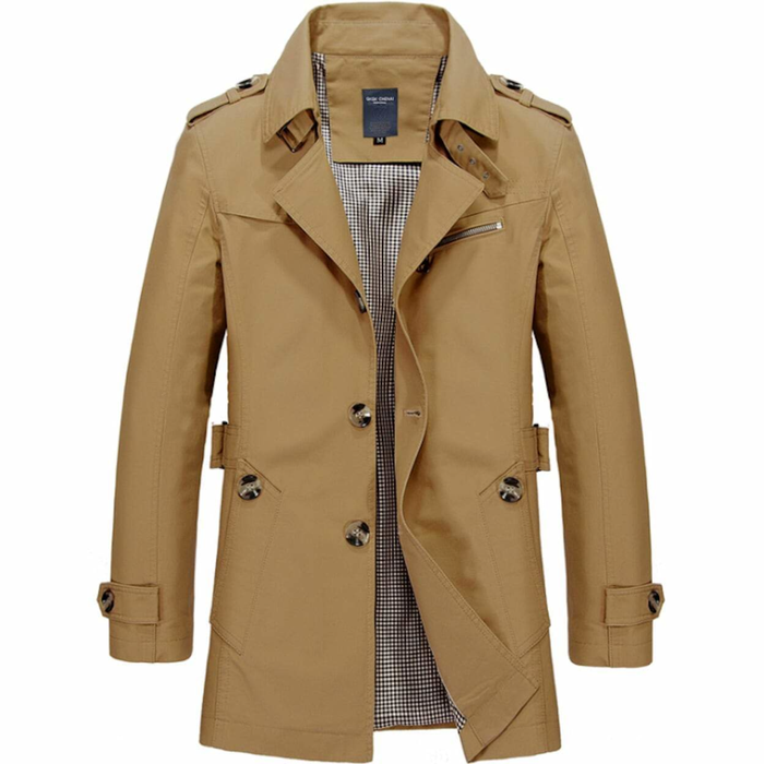 Men's Khaki Mid Length Trench Coat