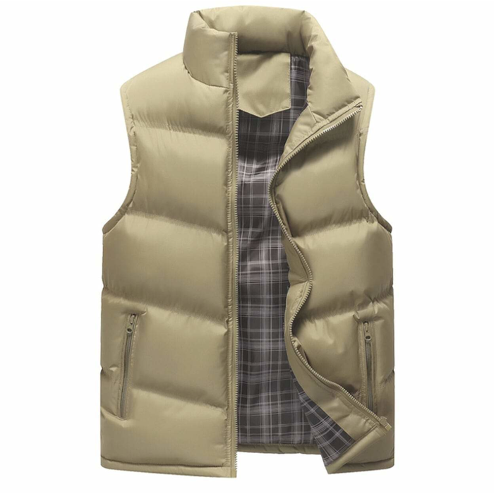 Men's Khaki Zip Up Winter Puffer Vest