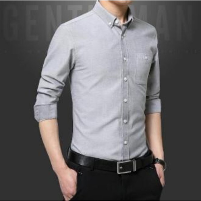 Men's Long Sleeve Classic Button Down Shirt in Gray