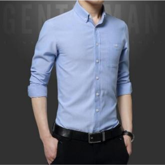 Men's Long Sleeve Classic Button Down Shirt in Sky Blue