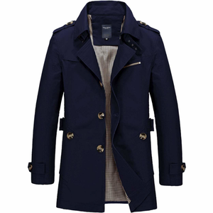 Men's Mid Length Trench Coat in Navy Blue-ProductPro-Mercantile Americana