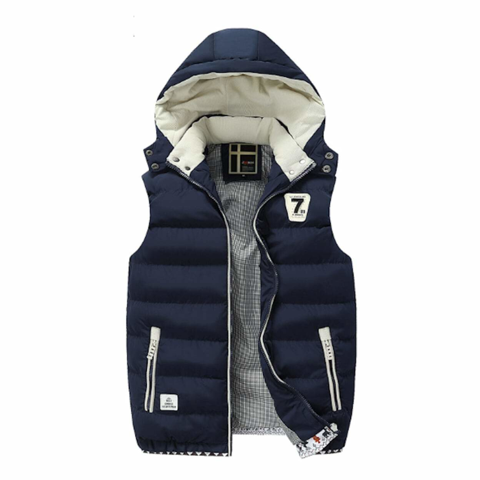 Men's Navy Two Tone Hooded Winter Vest