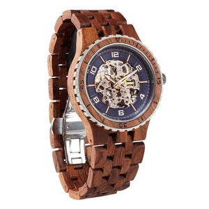 Men's Premium Self-Winding Transparent Body Kosso Wood Watches-Wilds Wood-Mercantile Americana