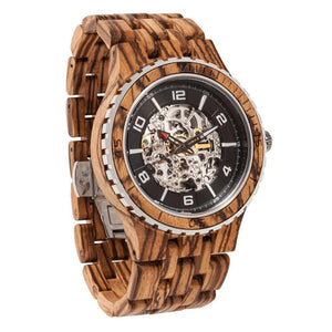 Men's Premium Self-Winding Transparent Body Zebra Wood Watches-Wilds Wood-Mercantile Americana