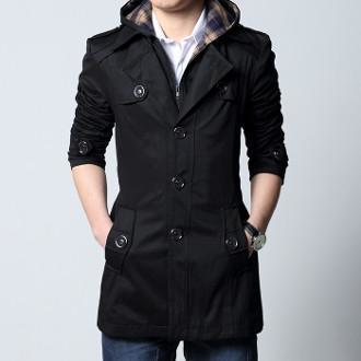 Men's Removable Hooded Trench Jacket