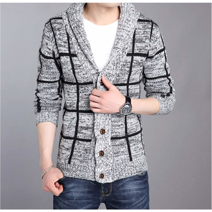 Men's Shawl Collar Gray Cardigan