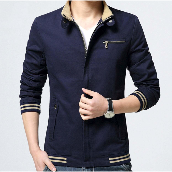 Men's Stand Collar Zipper Jacket in Navy
