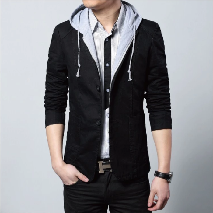 Men's Street Style Hooded Blazer in Black