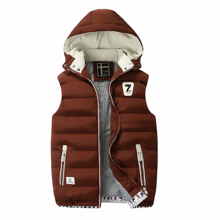 Men's Two Tone Hooded Puffy Vest in Red Wine