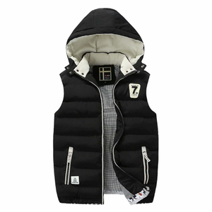 Men's Two Tone Hooded Winter Puffy Vest in Black-ProductPro-Mercantile Americana